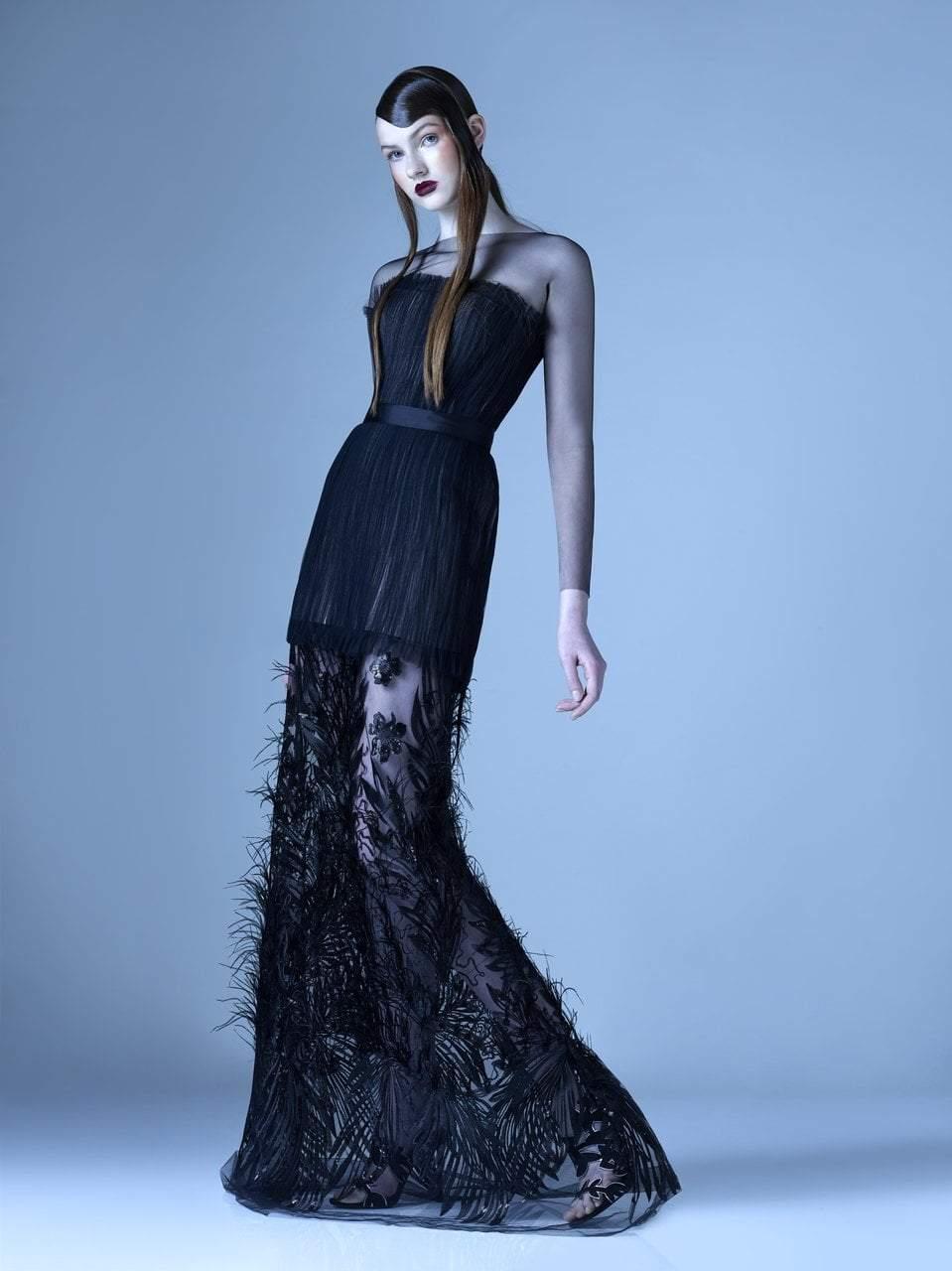 MNM Couture - G0970 Applique Illusion Bateau Trumpet Dress