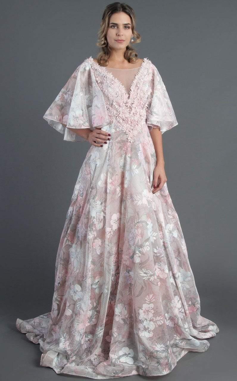 MNM Couture - K3522 Floral Applique Illusion Bateau Ballgown