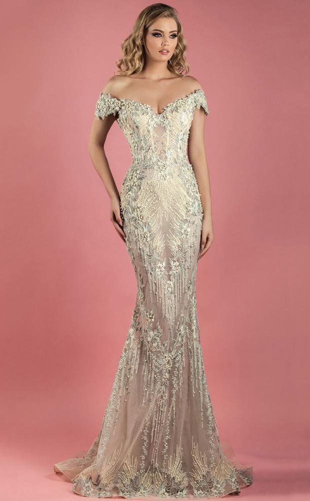 MNM Couture - K3555 Bedazzled Off-Shoulder Trumpet Dress