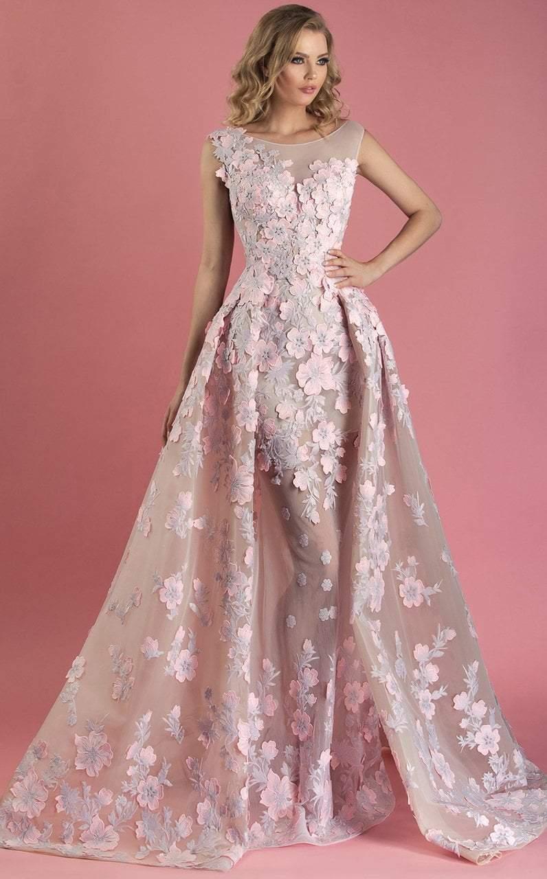 MNM Couture - K3558 Sheer Bateau Floral Applique Textured A-line Gown