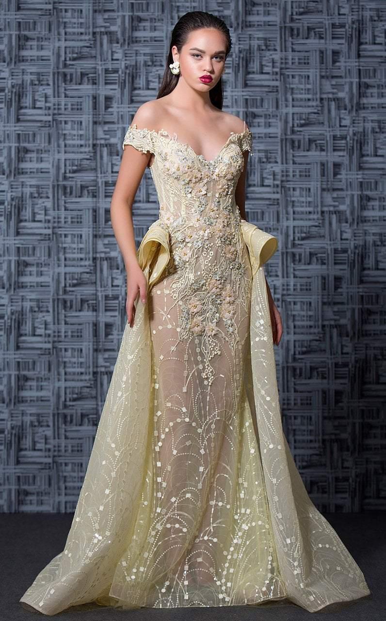 MNM Couture - K3589 Floral Applique Peplum Evening Gown
