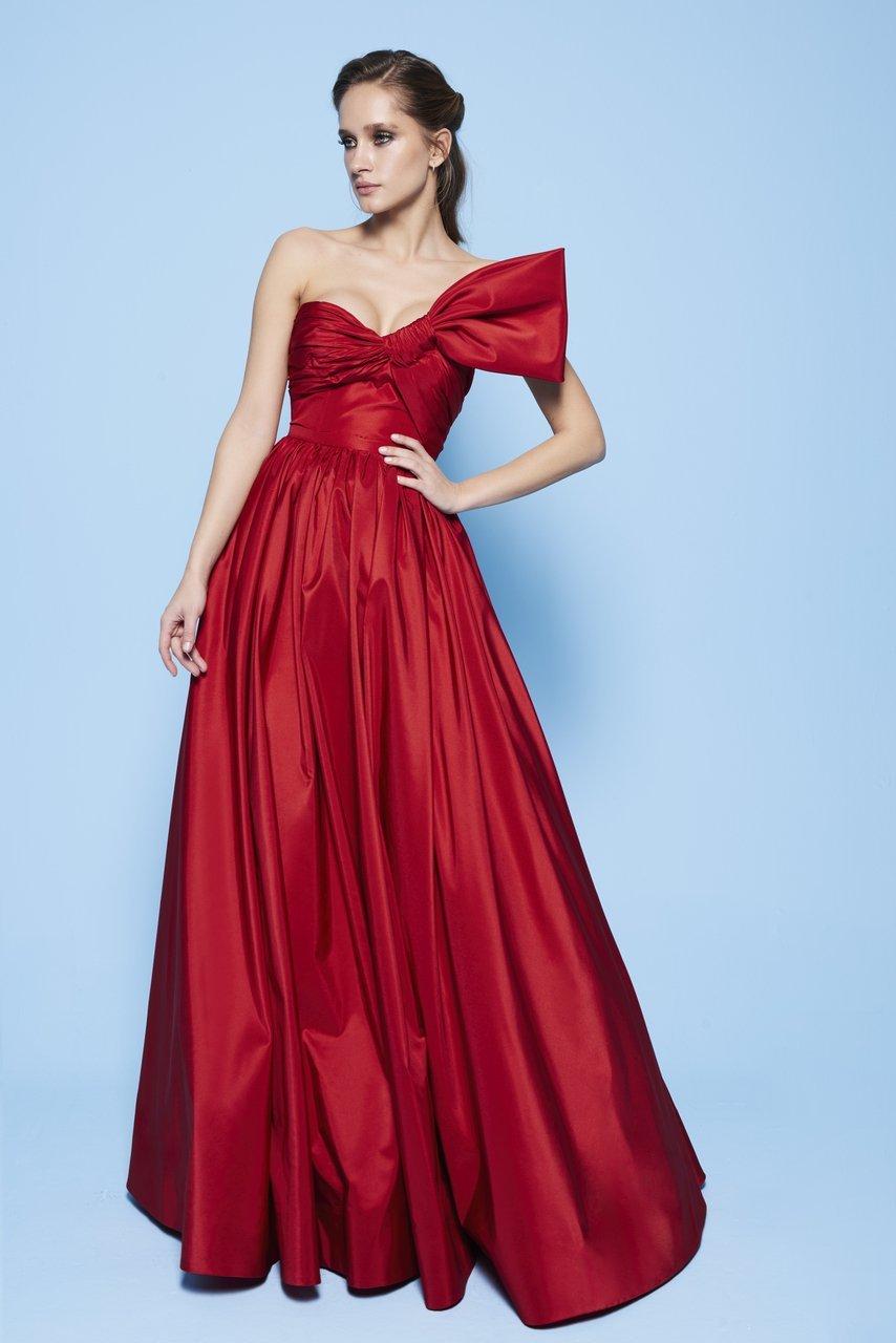 MNM Couture - N0258 Strapless Asymmetric Neck Ballgown