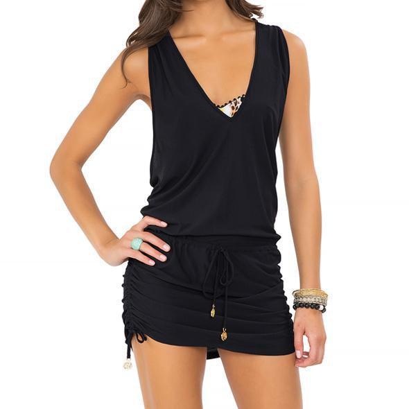 Luli Fama - Cosita Buena T-Back Mini Dress in Black (L177979)