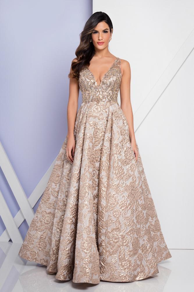 Terani Couture - 1721E4145 Deep V-Neck Ballgown