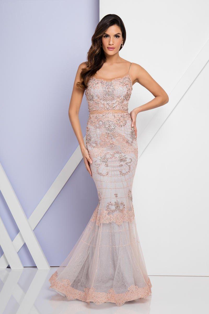 Terani Couture - 1721GL4430 Embellished Scoop Neck Trumpet Dress