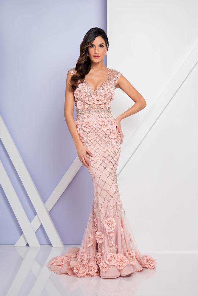Terani Couture - 1722GL4488 Beaded Floral Applique Evening Dress