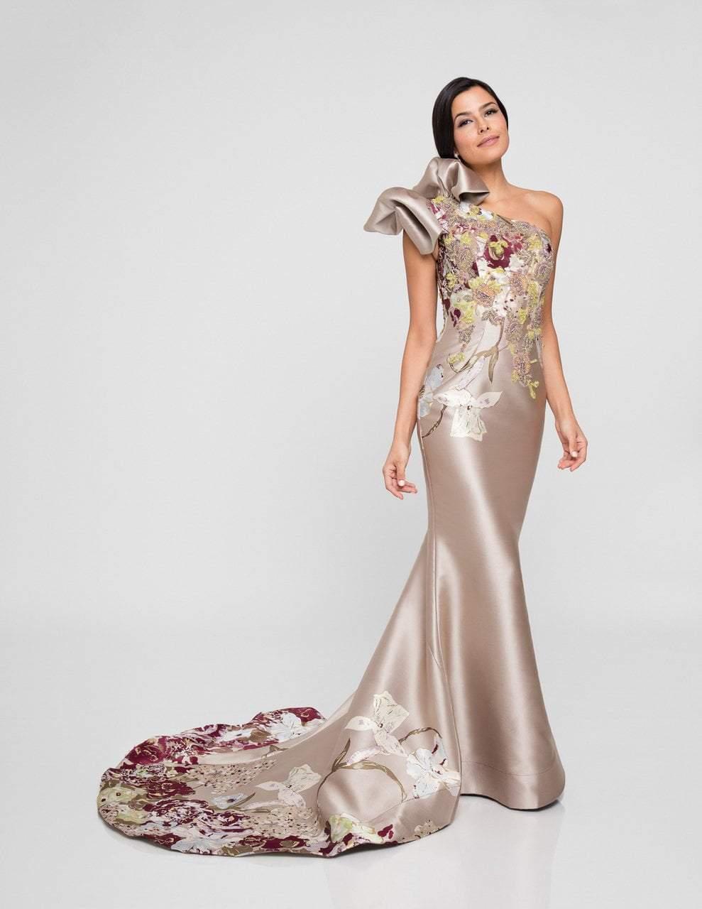 Terani Couture - 1811E6123 Multi-Colored Asymmetric Sheath Dress