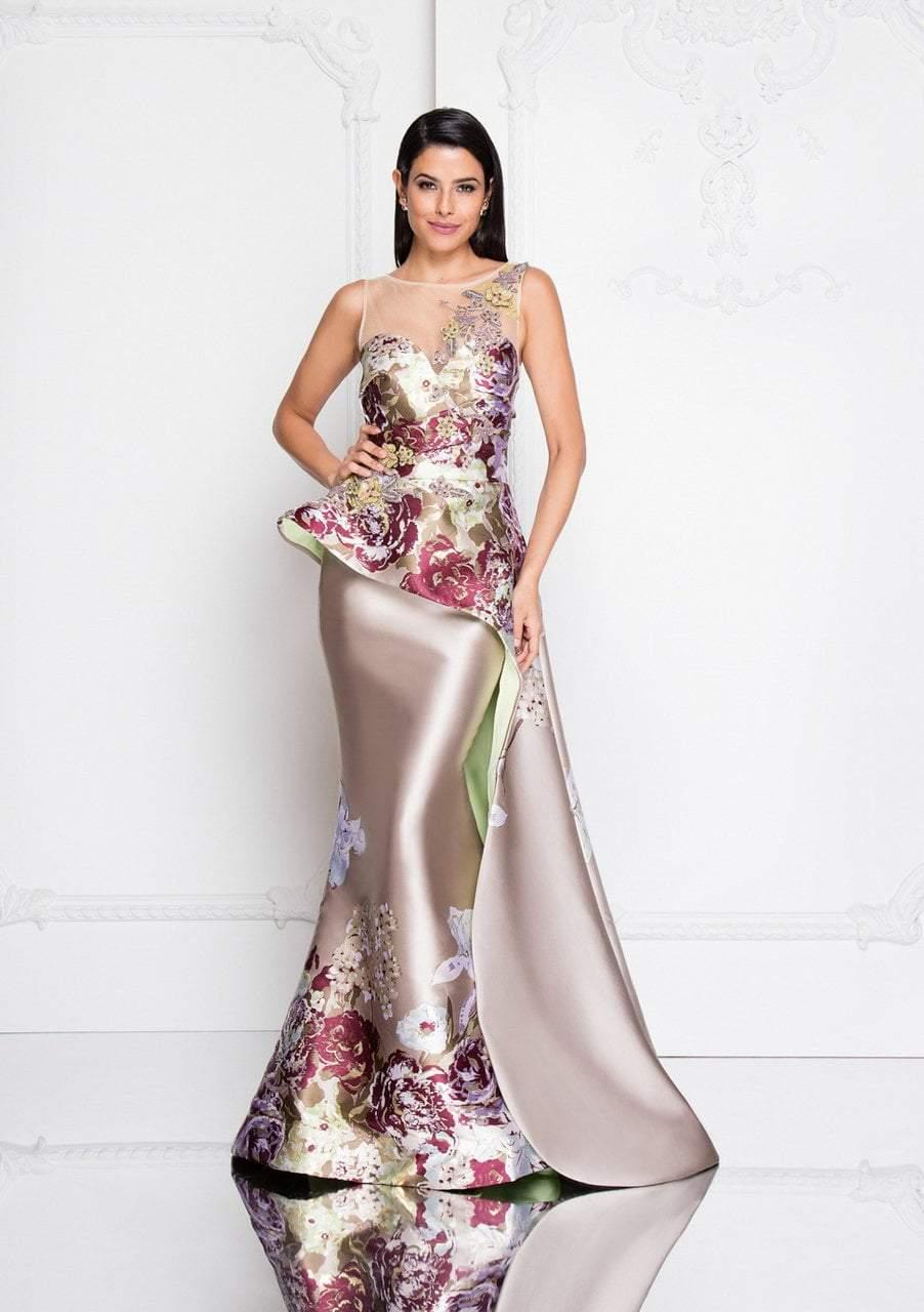 Terani Couture - 1811E6124 Multi-Color Illusion Bateau Mermaid Dress
