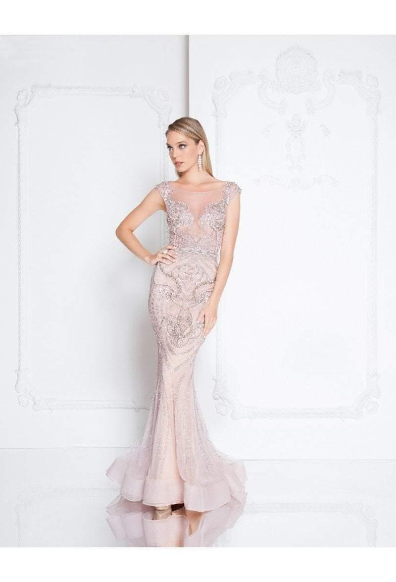 Terani Couture - 1811GL6405 Embellished Illusion Bateau Trumpet Dress
