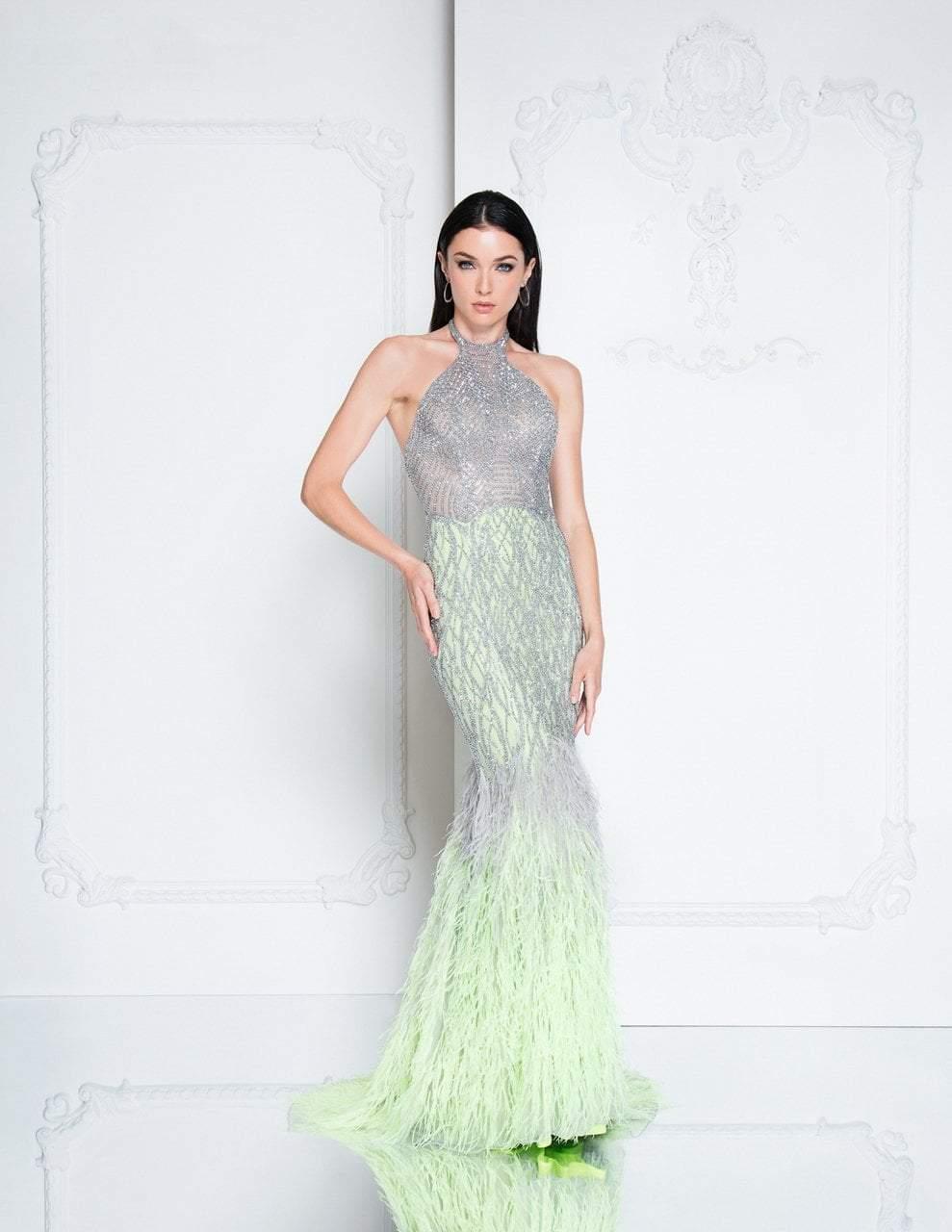 Terani Couture - 1811GL6407 Silver Embellished Halter Mermaid Dress