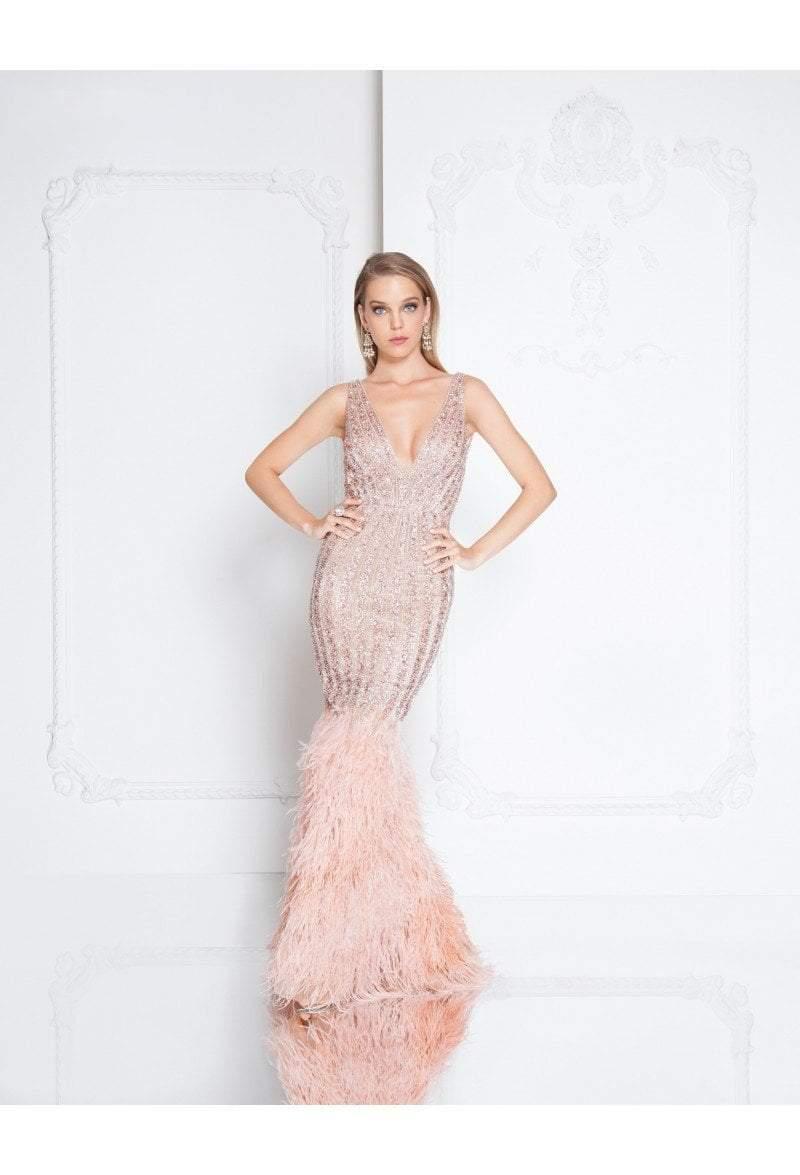 Terani Couture - 1811GL6414 Embellished Deep V-neck Mermaid Dress