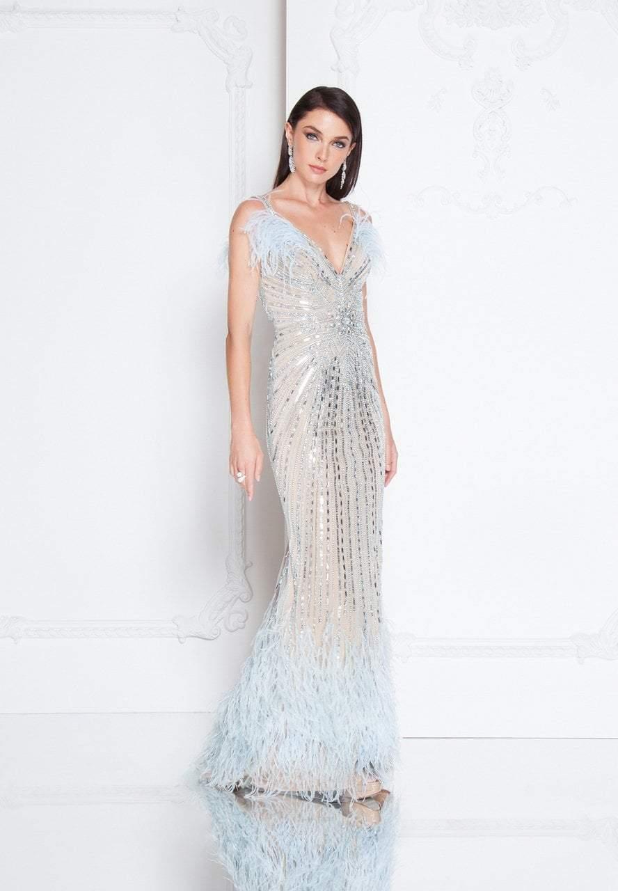 Terani Couture - 1811GL6426 Bedazzled V-neck Sheath Dress