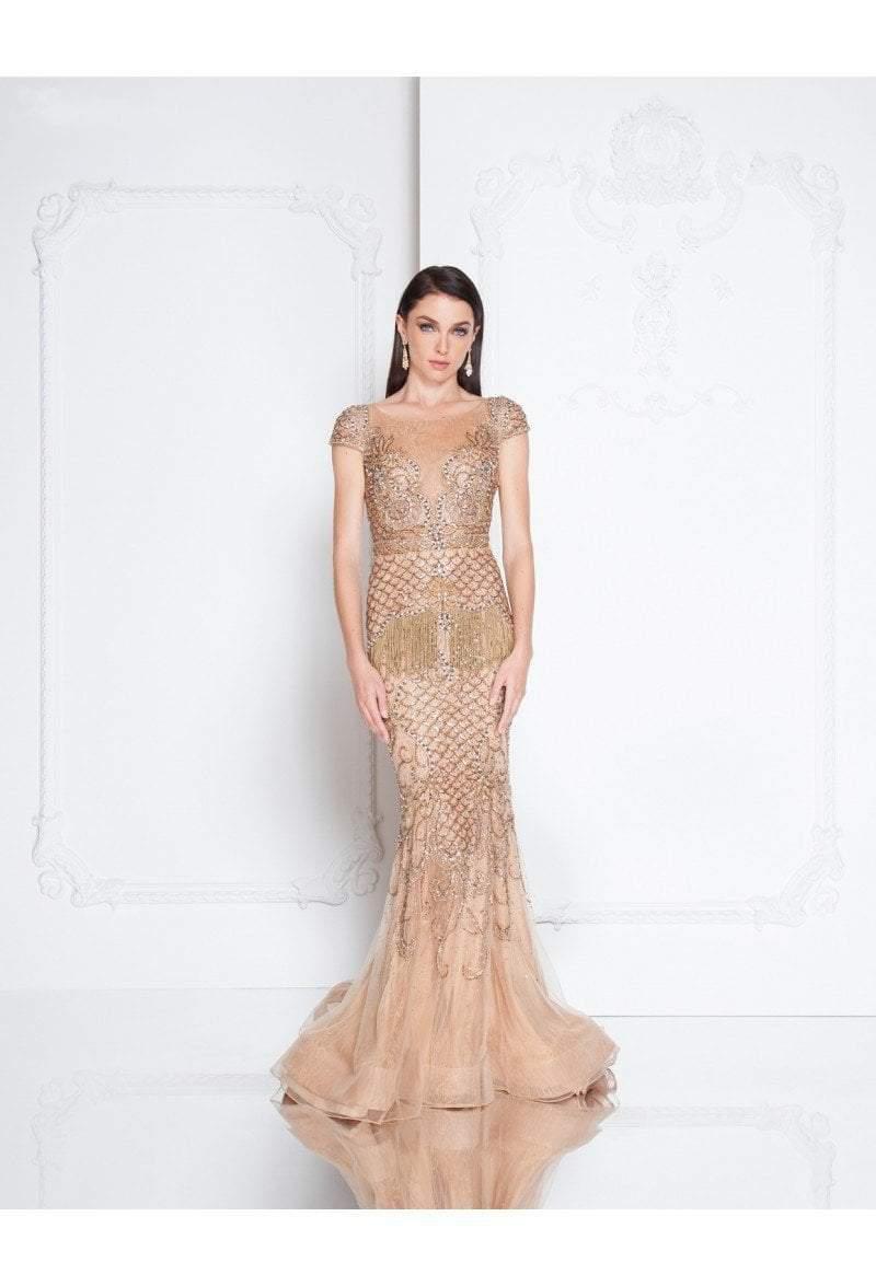 Terani Couture - 1811GL6452 Bedazzled Sheer Bateau Trumpet Dress