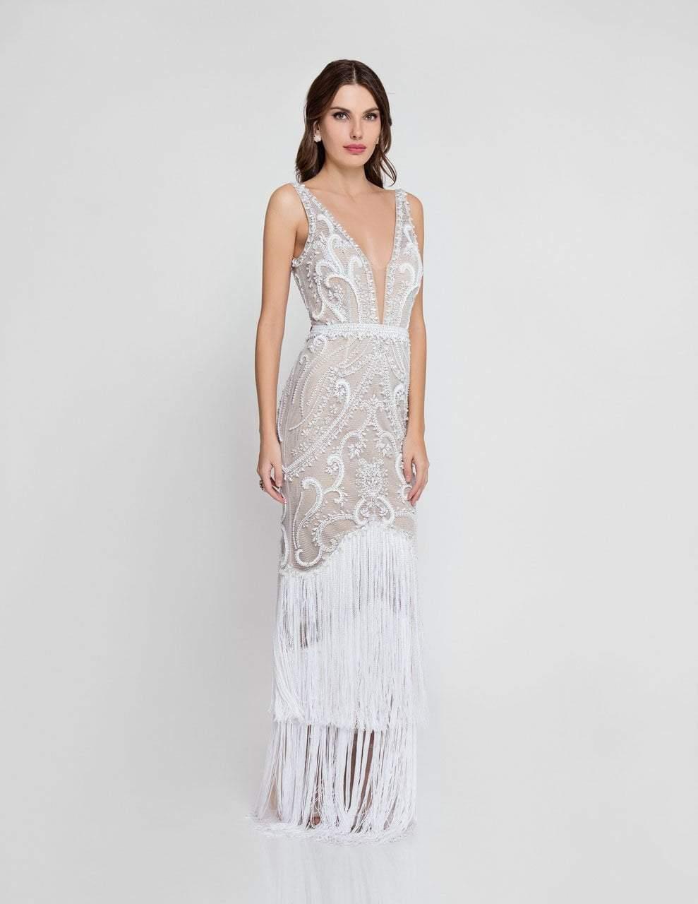 Terani Couture - 1811GL6472 Embellished Fringed Evening Dress