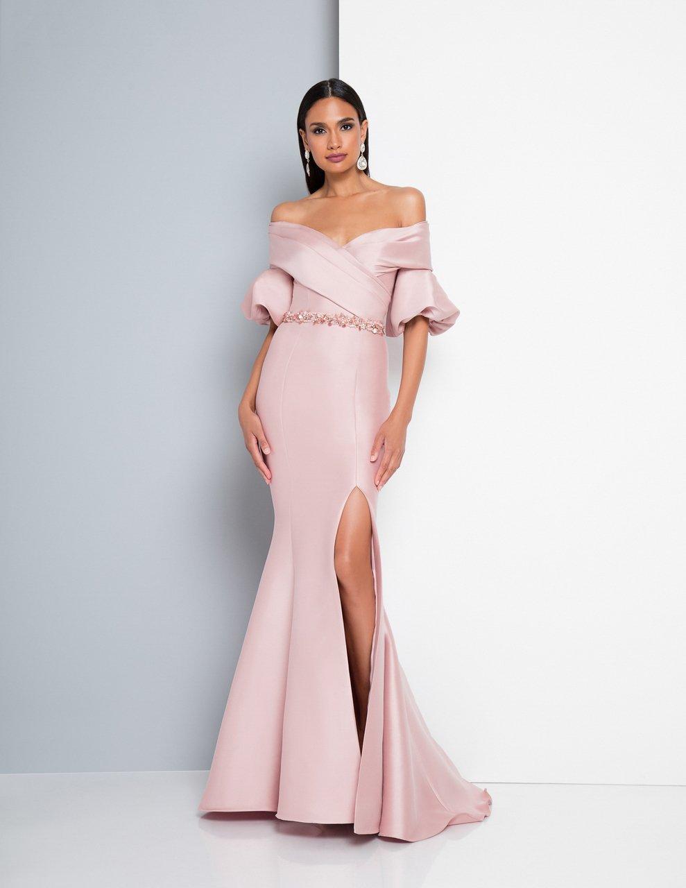 Terani Couture - 1811M6550 Puff Sleeve Off-Shoulder Mermaid Dress