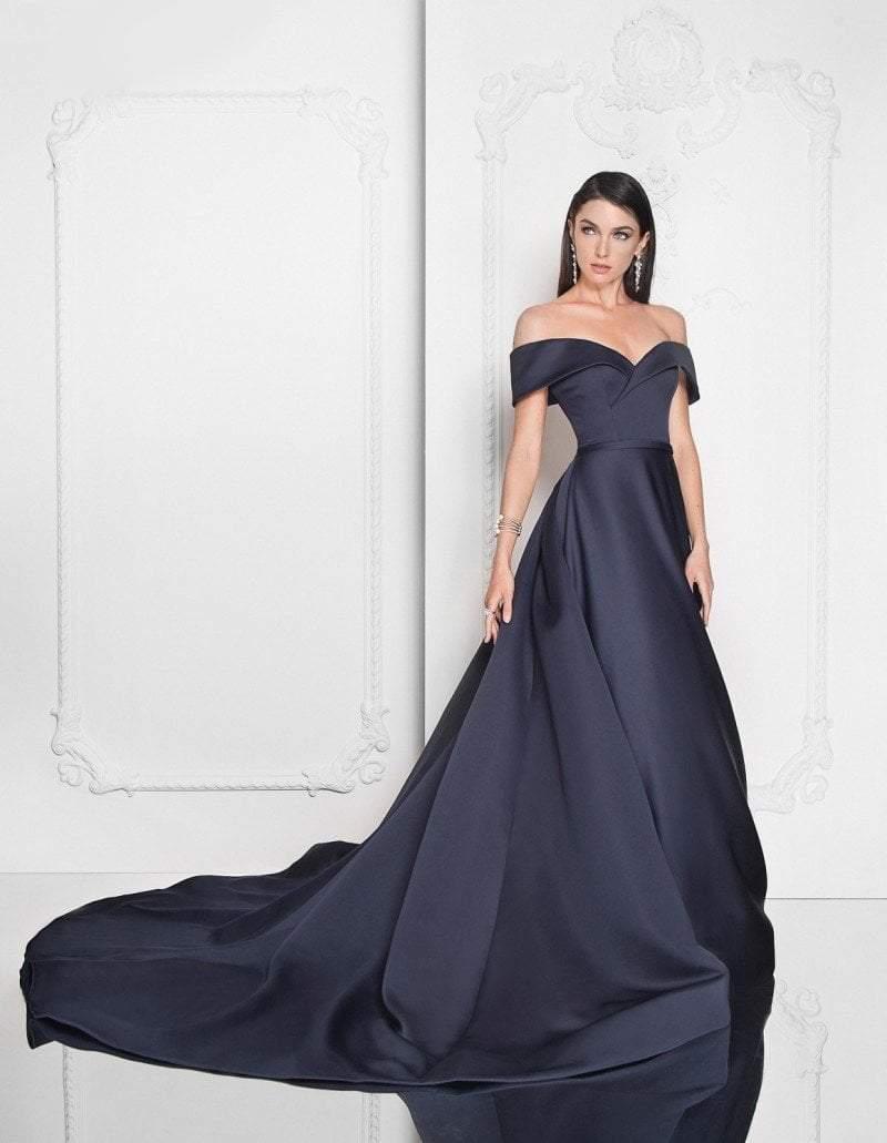 Terani Couture - 1812E6276 Off-Shoulder A-line Evening Gown