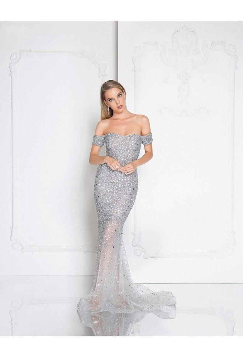 Terani Couture - 1812GL5359 Crystal Embellished Off Shoulder Gown