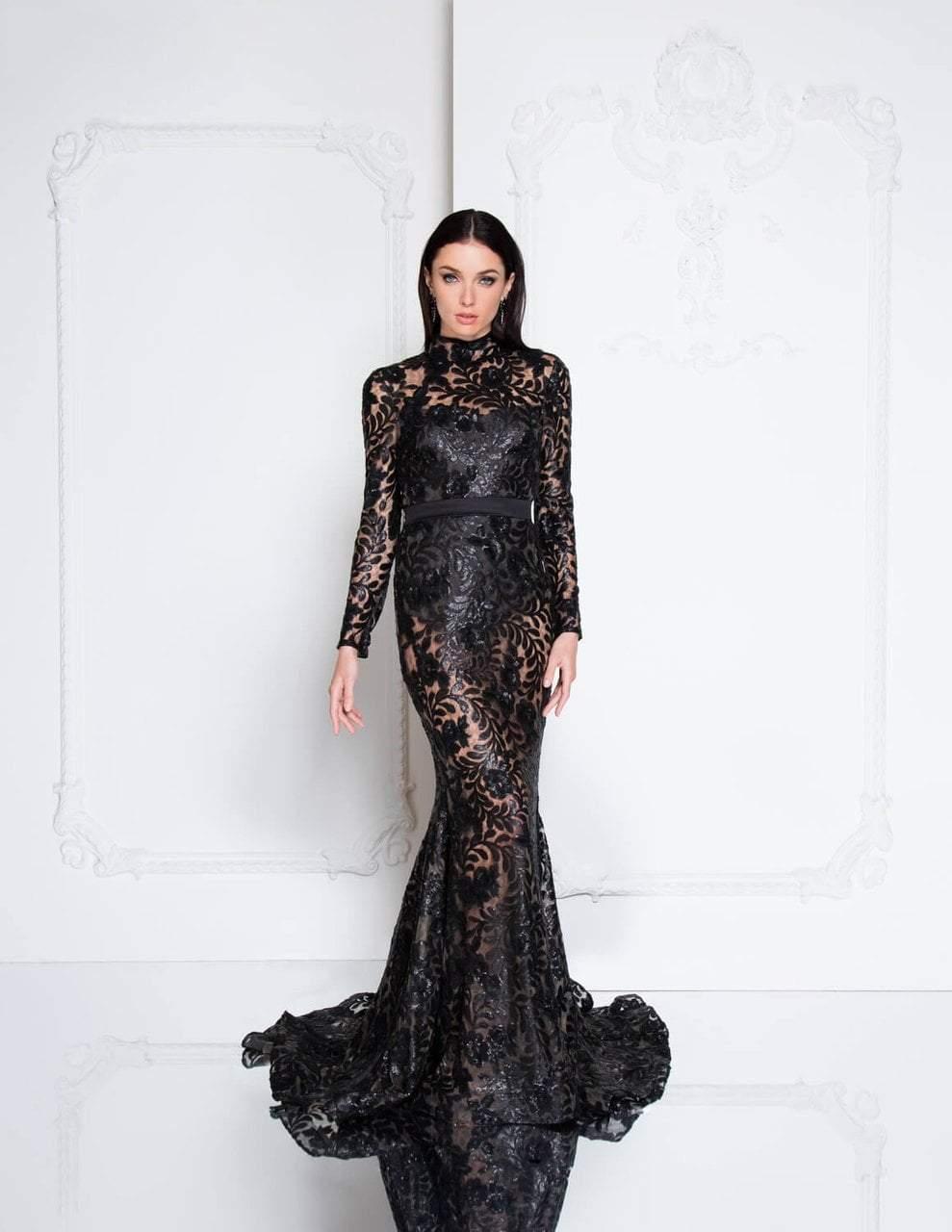 Terani Couture - 1813E6346 High Neck Bodysuit Illusion Gown