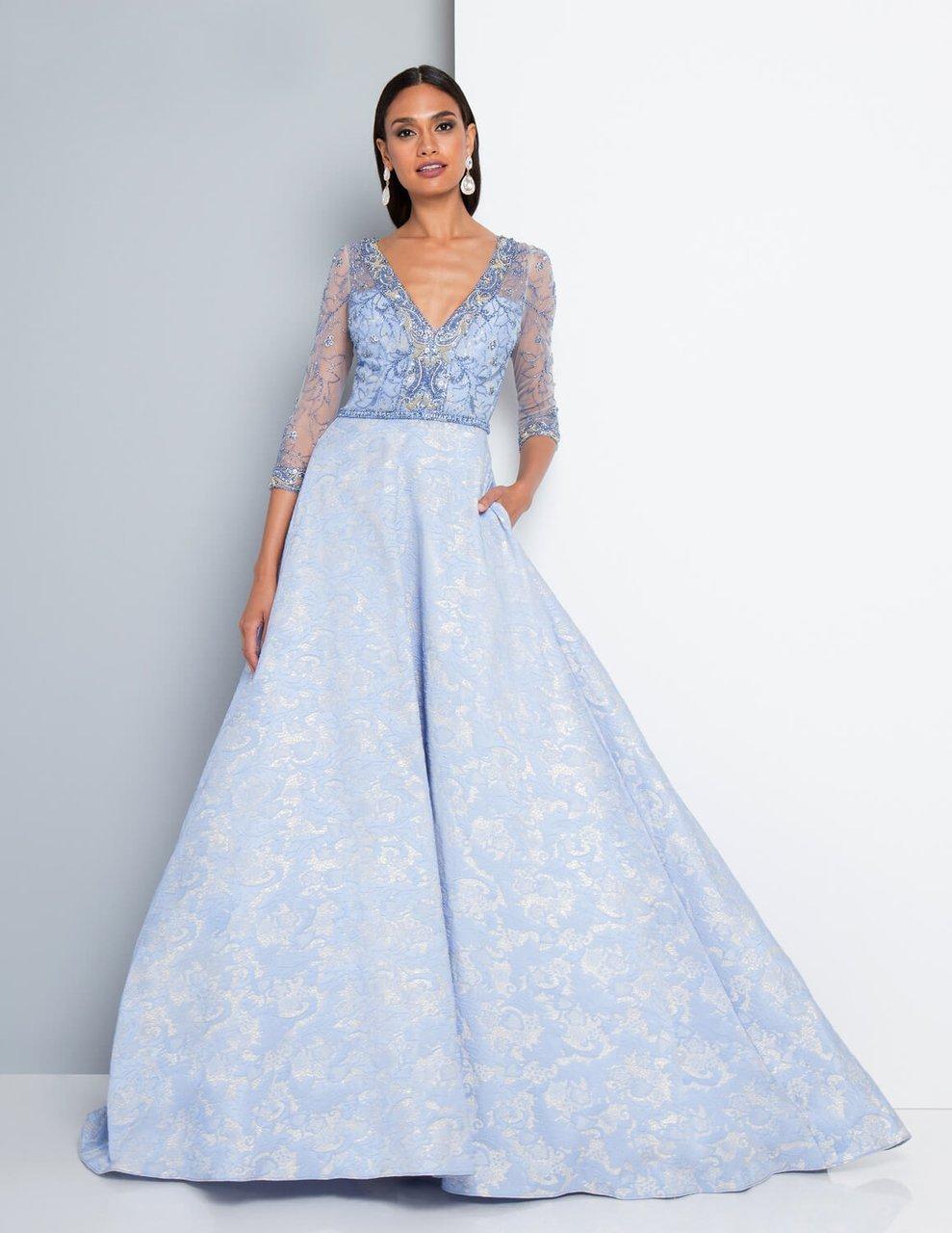 Terani Couture - 1813M6700 Quarter Length Sleeved Ballgown