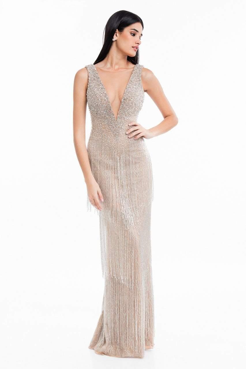 Terani Couture - 1821GL7401 Beaded Fringe Deep V-neck Sheath Dress