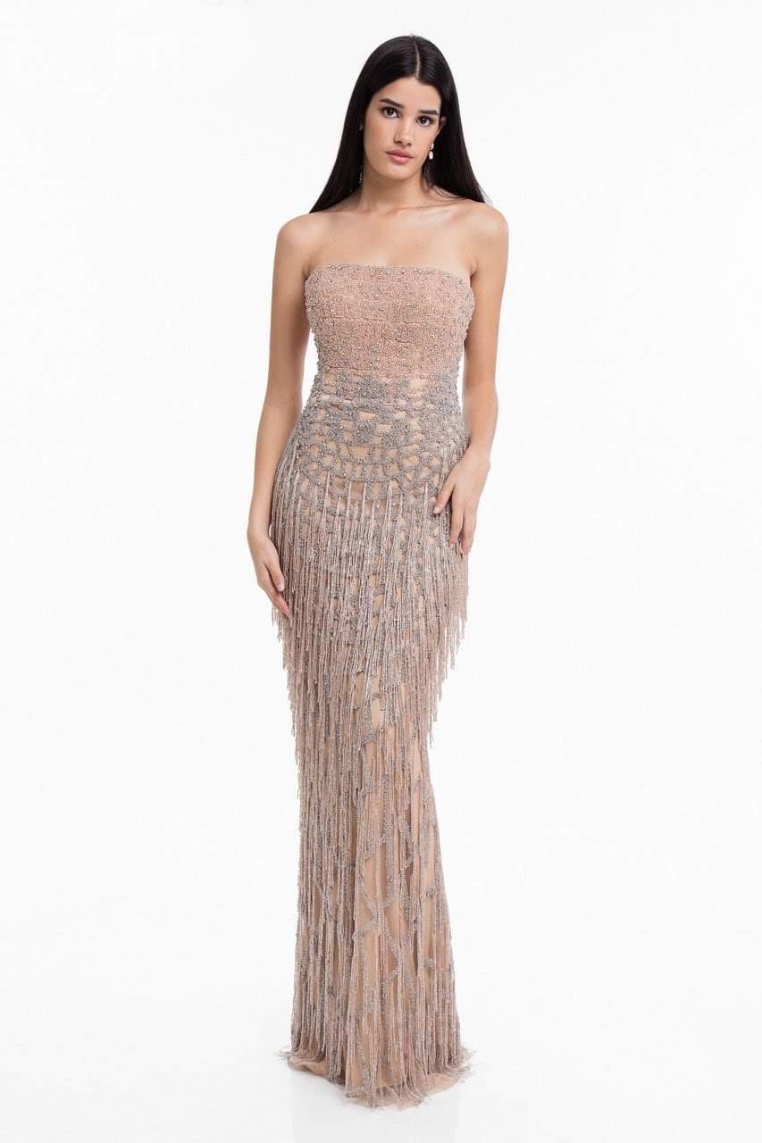 Terani Couture - 1821GL7427 Strapless Beaded Fringe Sheath Dress