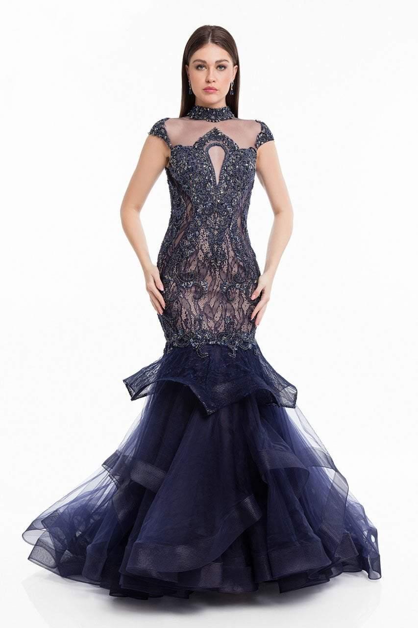 Terani Couture - 1821GL7435 Ornate Cap Sleeve Cutout Bodice Long Gown