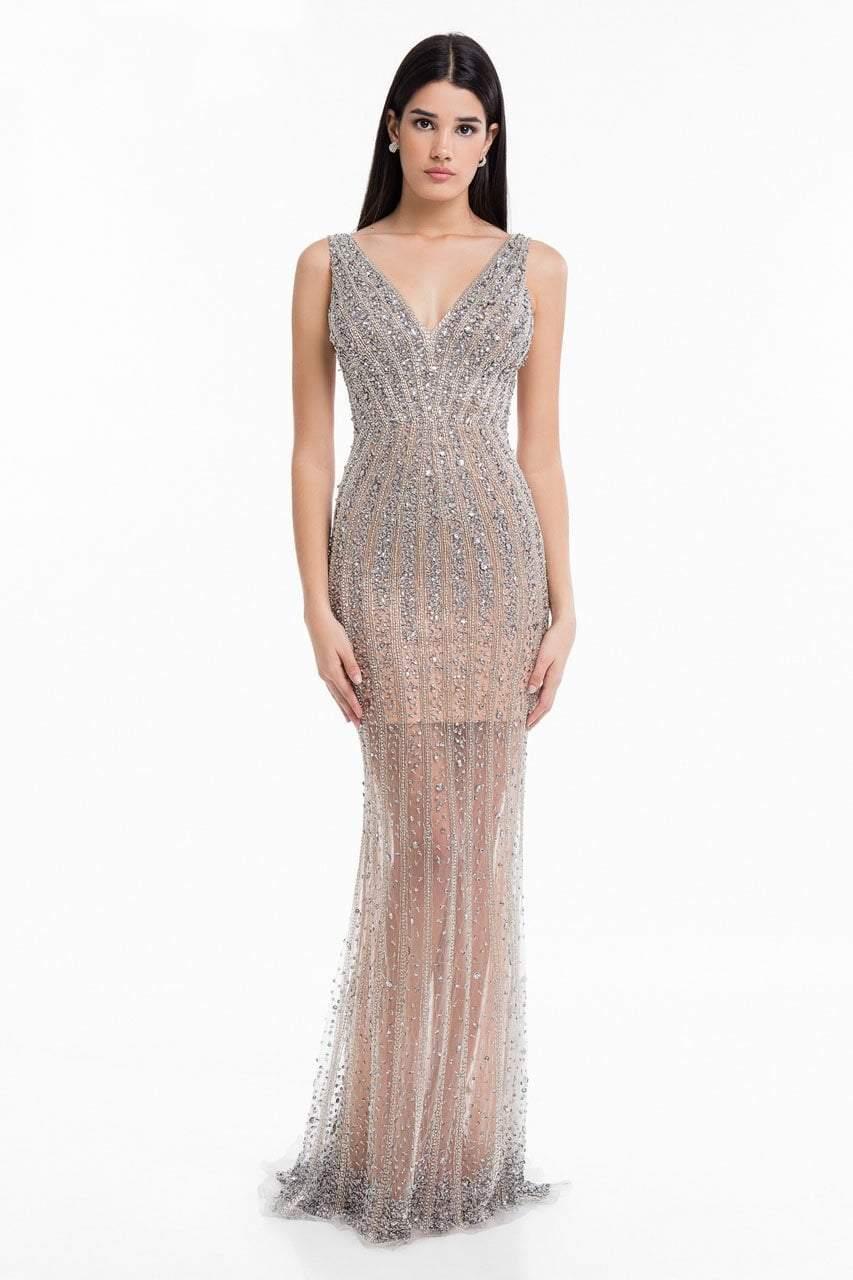 Terani Couture - 1821GL7450 Crystal-Striped Illusion Sheath Gown