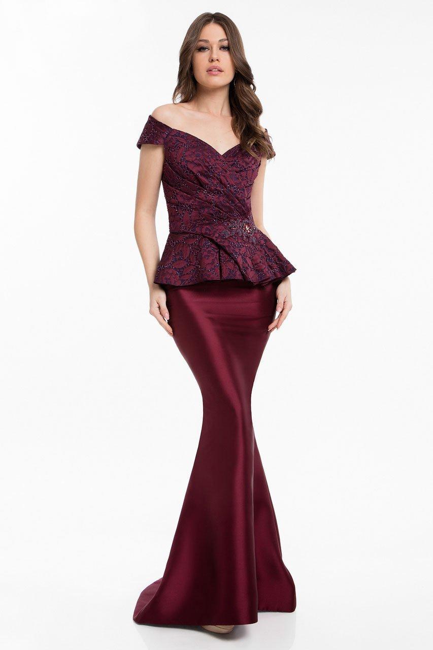 Terani Couture - 1821M7577 Mock Two Piece Lace Jacquard Trumpet Dress