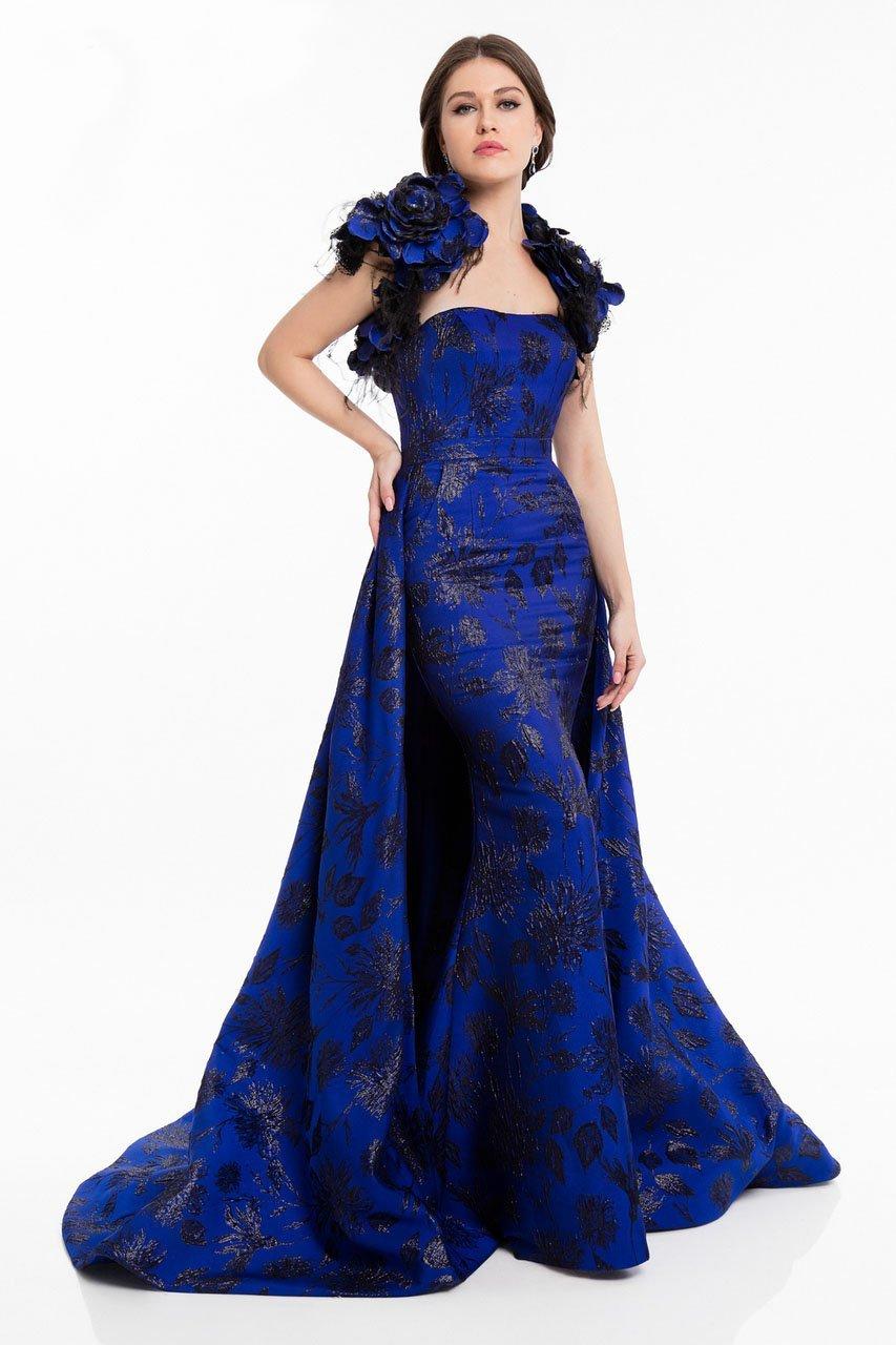 Terani Couture - 1822E7265 Brocade Floral Applique Feathered Dress