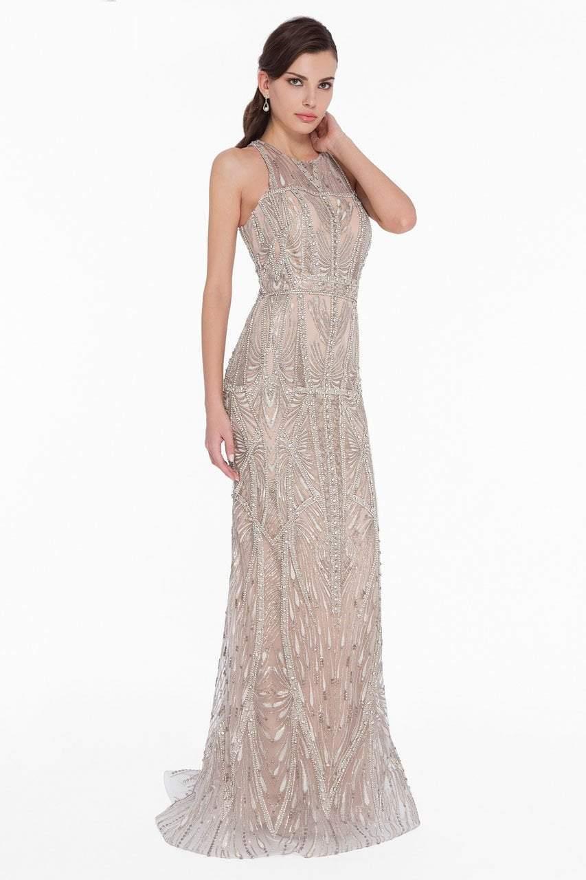 Terani Couture - 1822GL7508 Embroidered Illusion Halter Sheath Dress