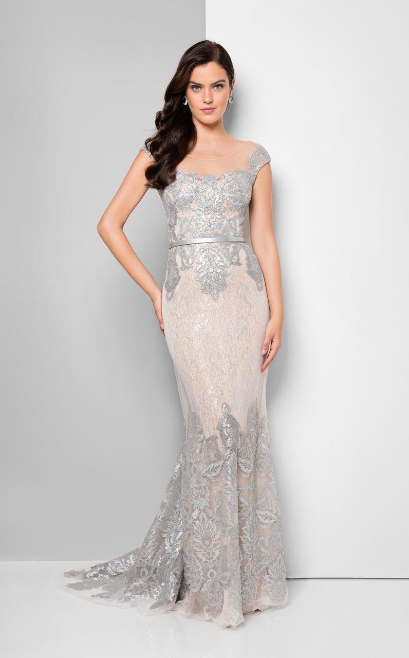 Terani Couture - Bedazzled Portrait Mermaid Dress 1713M3505
