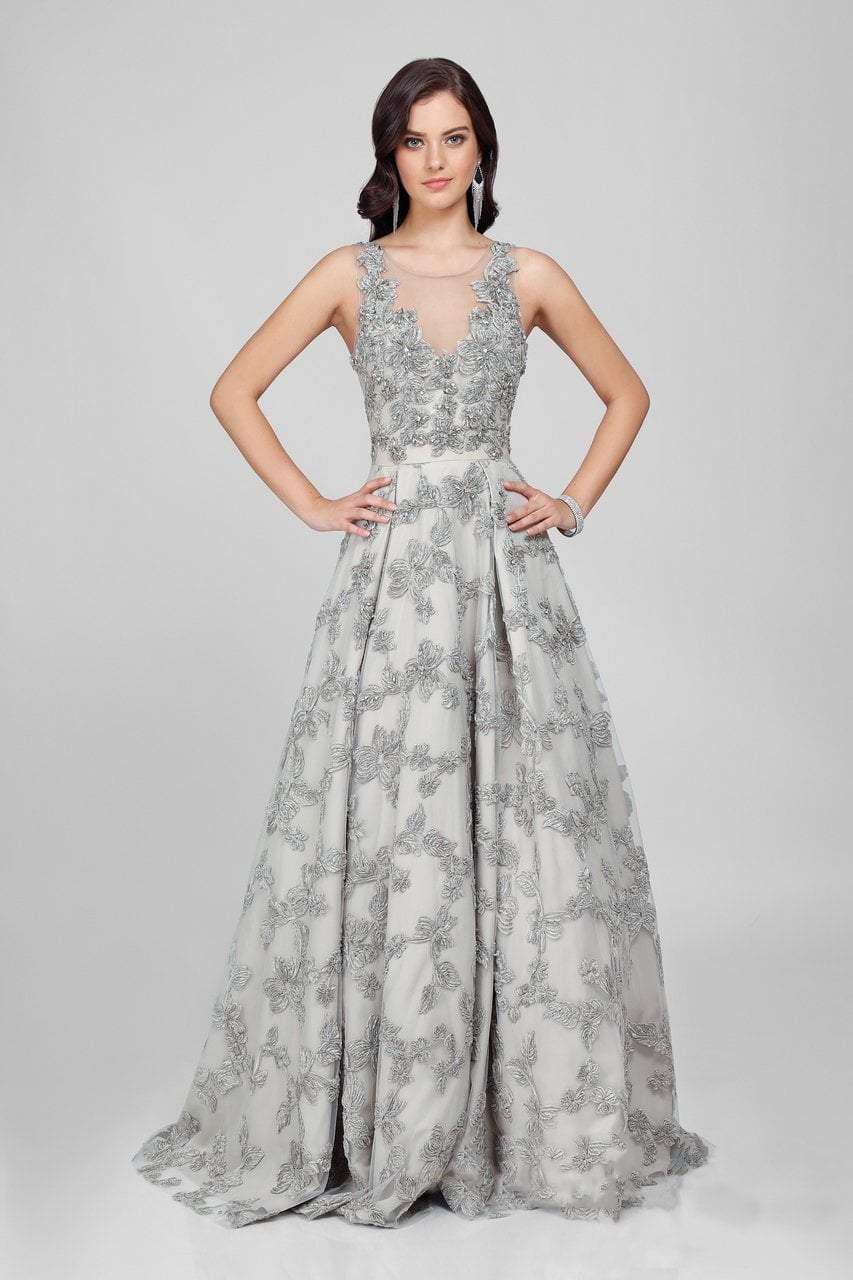 Terani Couture - Eccentric Floral Accented Illusion Neck A-line Gown Couture1722E4249