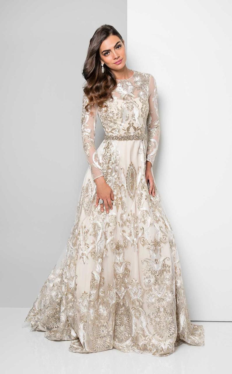 Terani Couture - Metallic Appliqued Illusion Gown 1712E3652