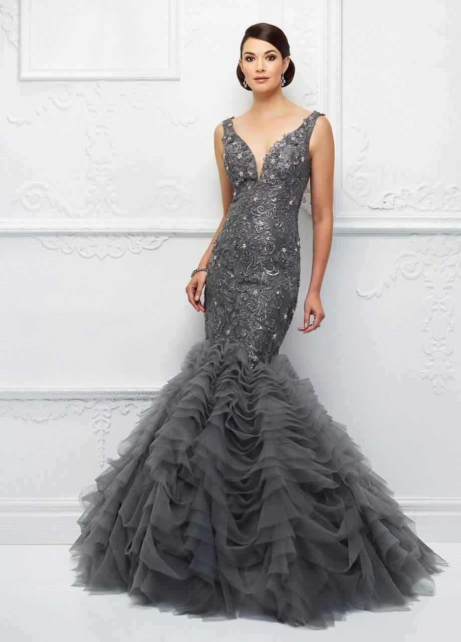 Ivonne D for Mon Cheri - 118D09 Beaded Lace Deep V-neck Tulle Dress