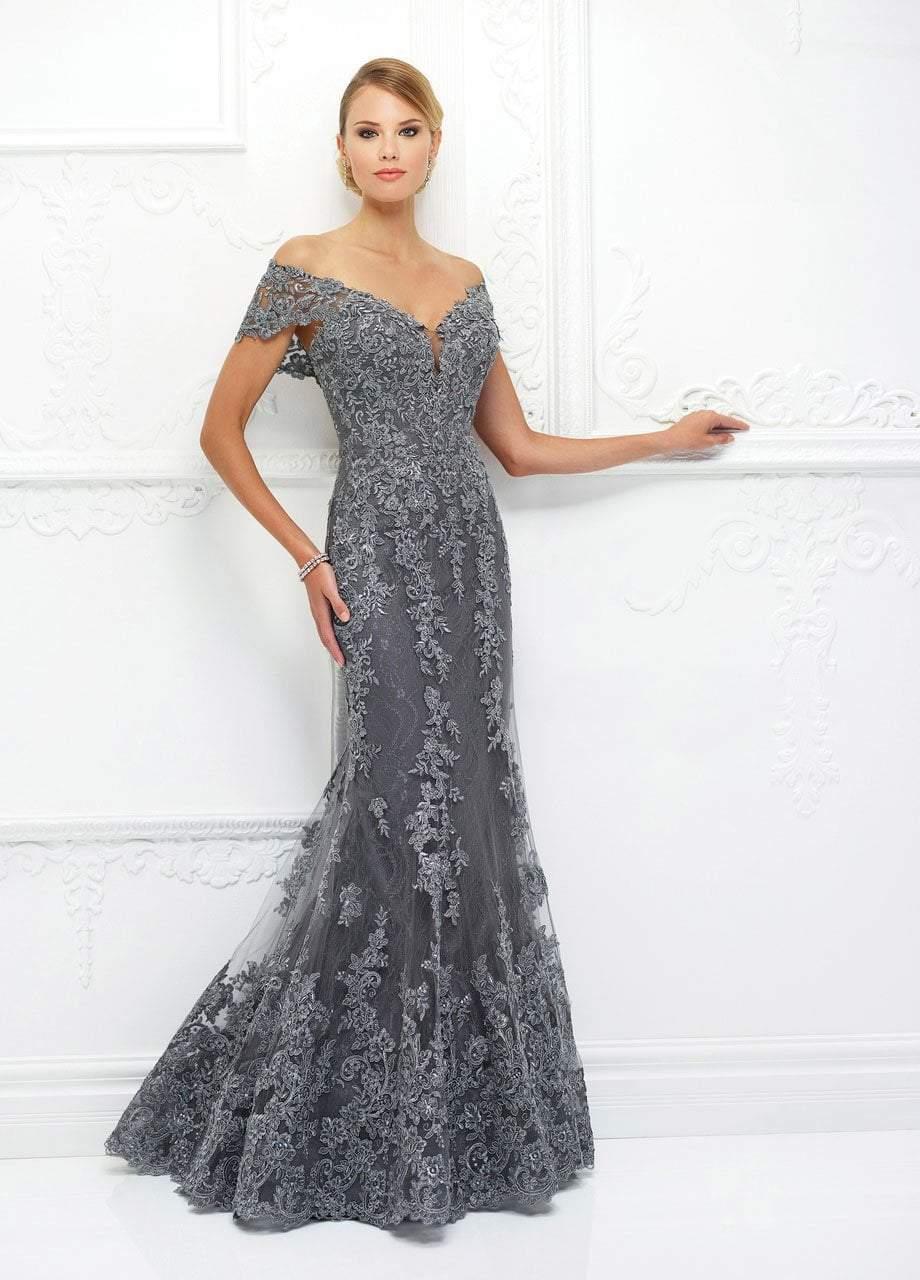 Ivonne D for Mon Cheri - 118D12 Lace Applique Plunging Trumpet Dress