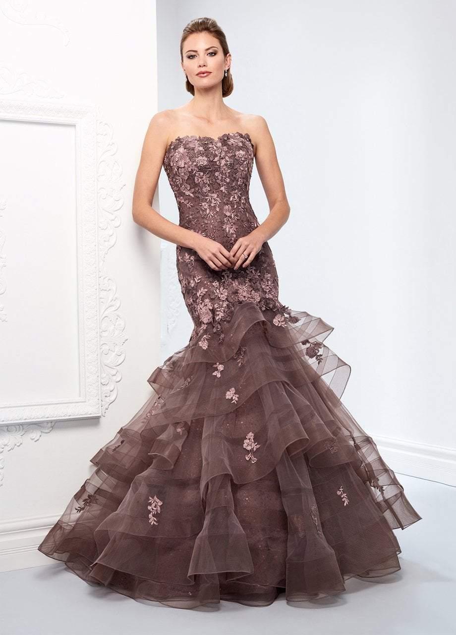 Ivonne D for Mon Cheri - 218D21 Sequined Metallic Lace Tulle Dress