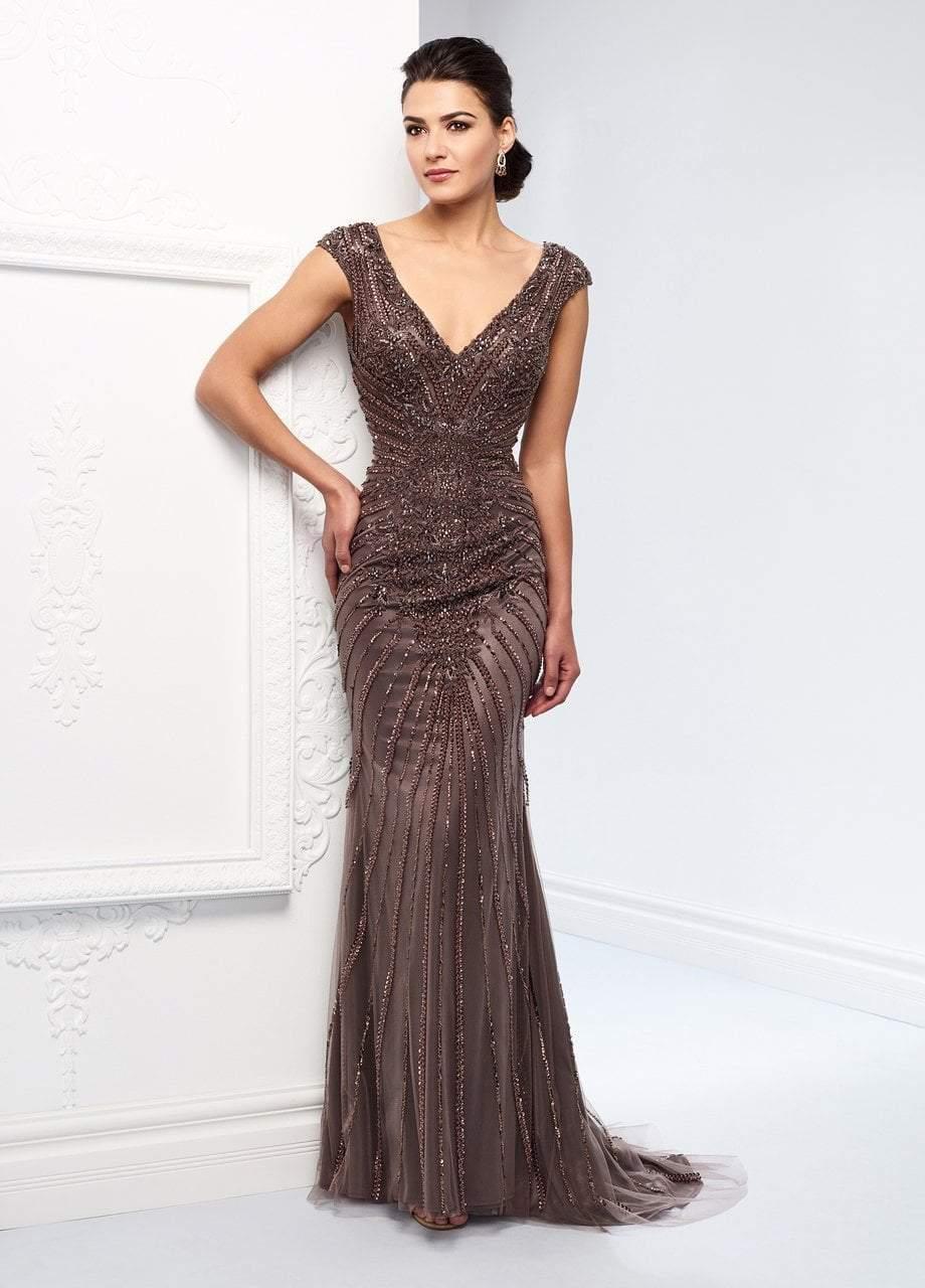 Ivonne D for Mon Cheri - 218D22 Beaded Cap Sleeve V-neck Sheath Dress