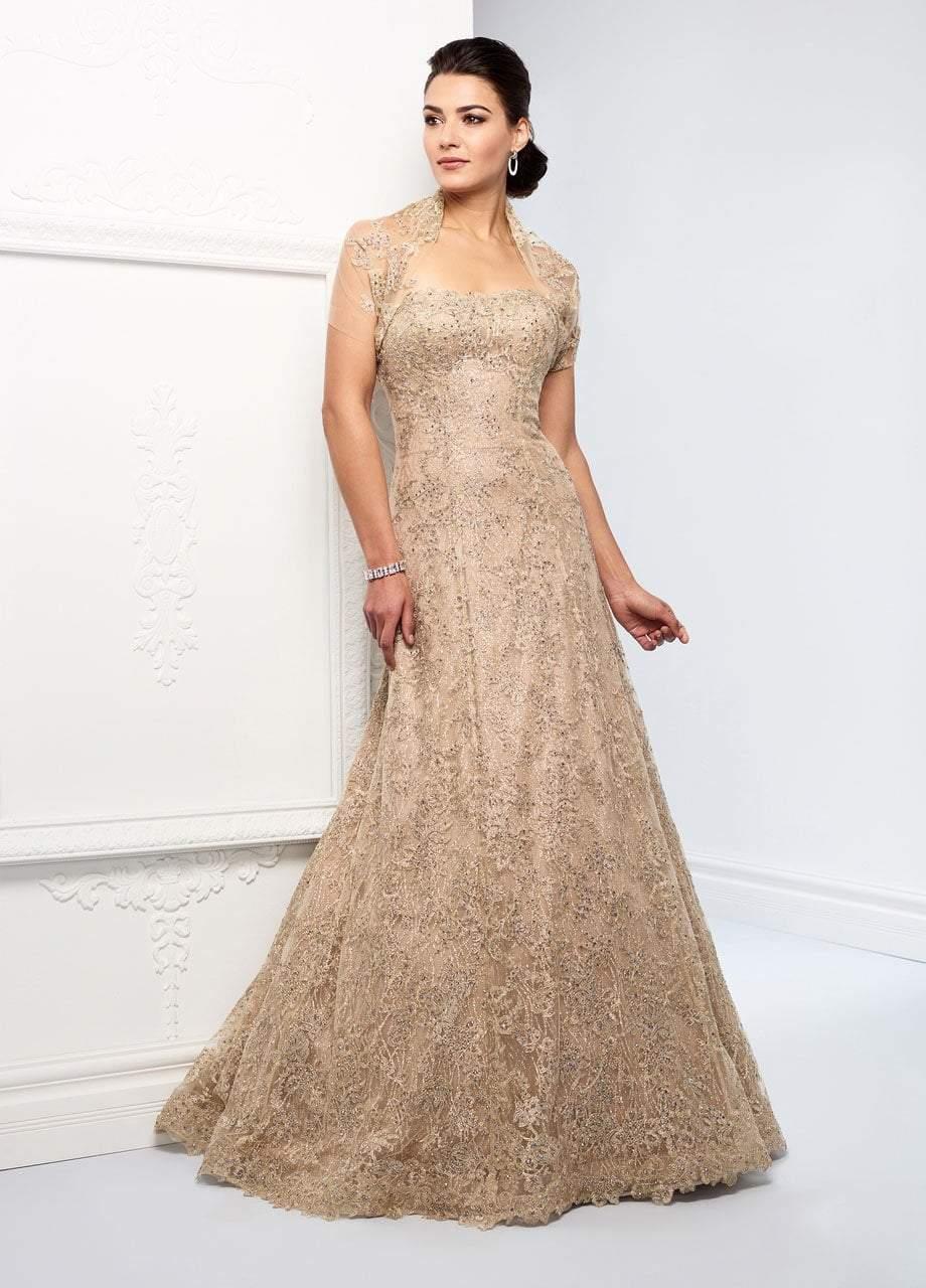 Ivonne D for Mon Cheri - 218D24 Embellished Metallic Lace A-line Dress
