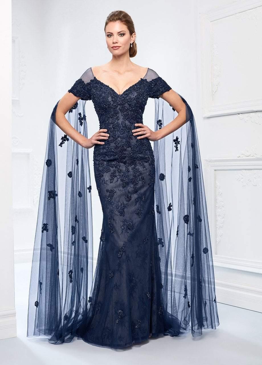 Ivonne D for Mon Cheri - 218D25 Beaded Lace Floor Length Sleeve Dress