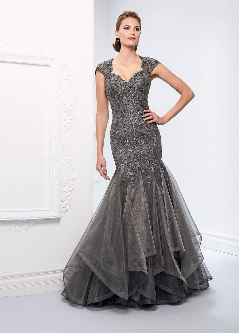 Ivonne D for Mon Cheri - 218D29 Embraided Lace Queen Anne Trumpet Gown