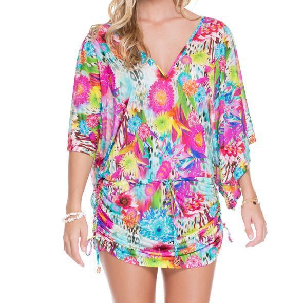Luli Fama - Paraiso Cabana V-Neck Dress In Multi-Color (L488976)