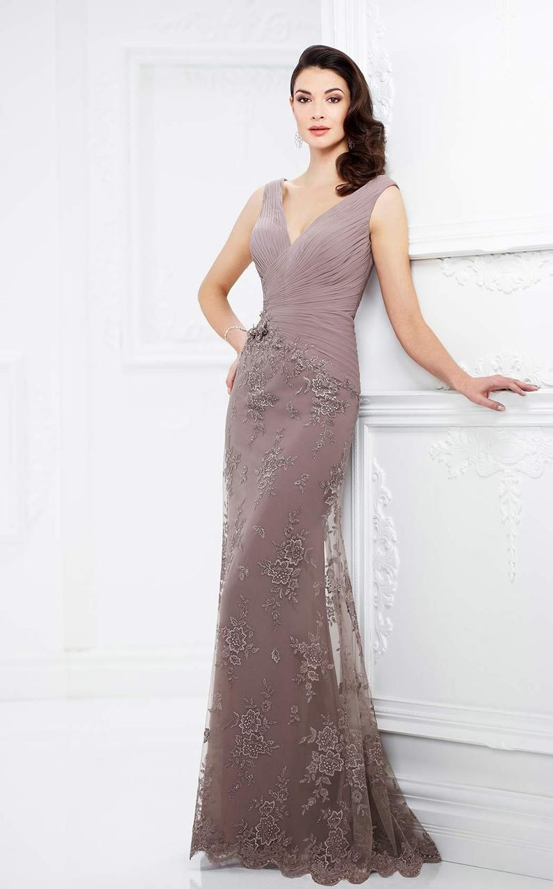 Montage by Mon Cheri - 217936 Embellished V-neck Sheath Dress