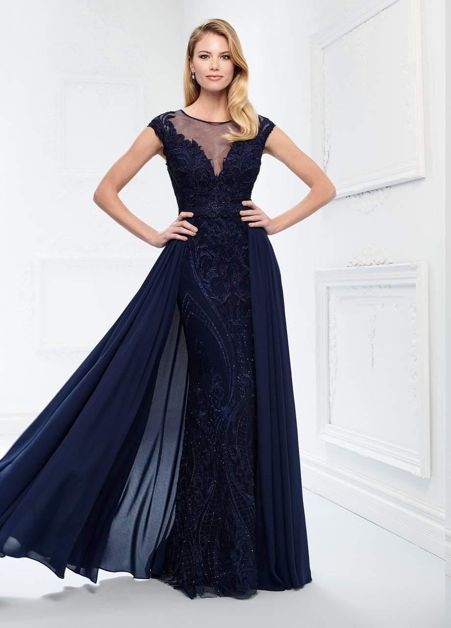 Montage by Mon Cheri - 218914W Embraided Lace Bateau Chiffon Gown