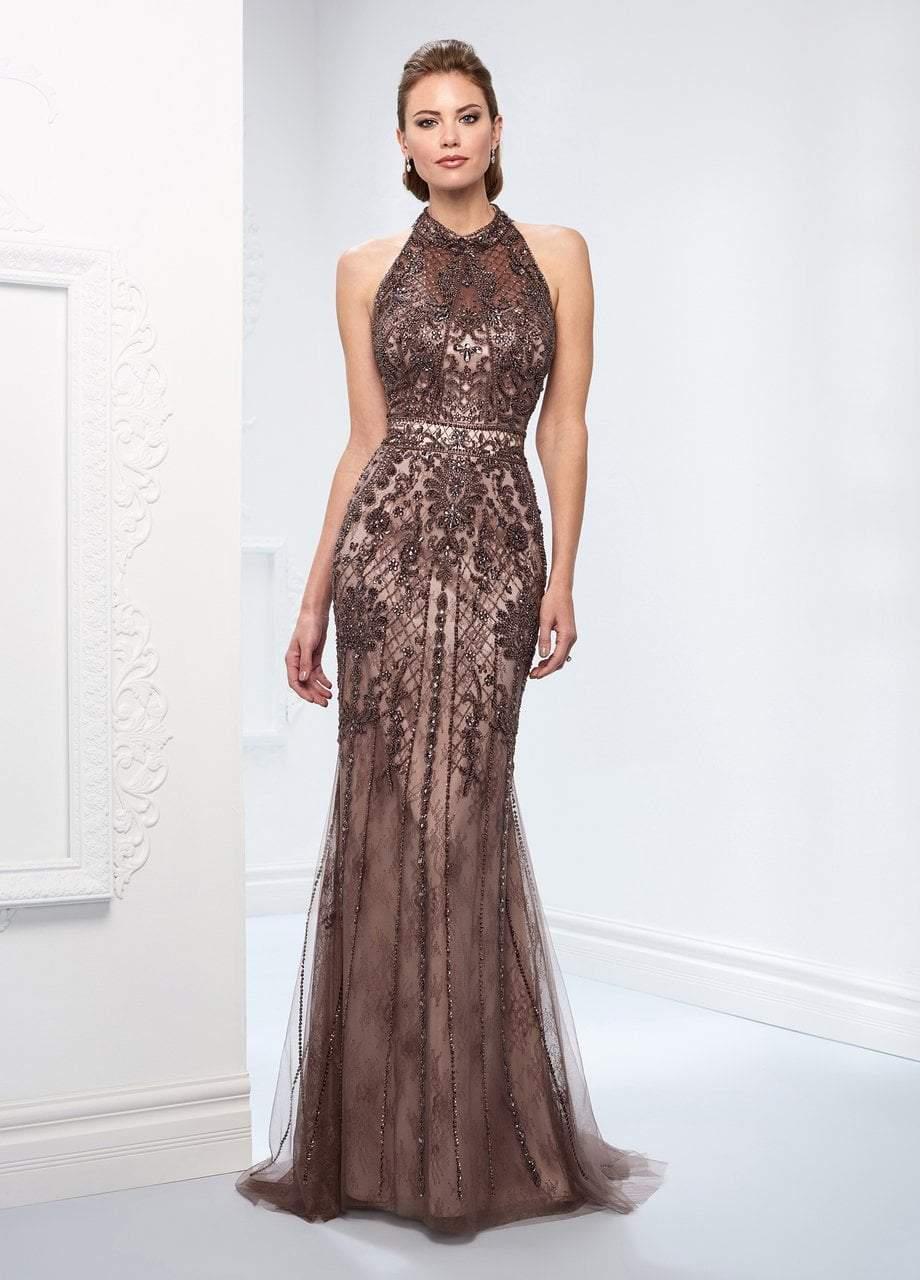 Ivonne D for Mon Cheri - 218D27 Beaded Lace Sheer Halter Fitted Dress