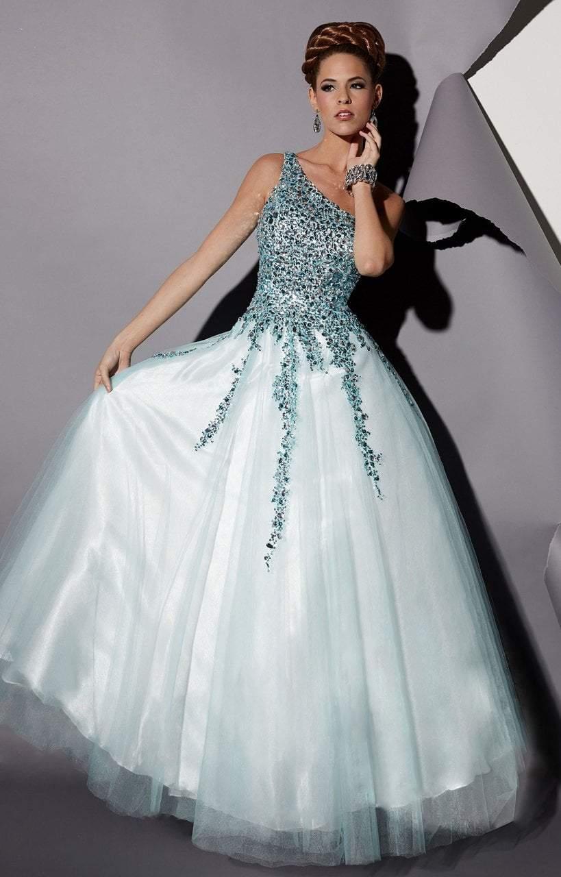 Studio 17 - 12454 Asymmetrical Sheer Beaded Evening Gown