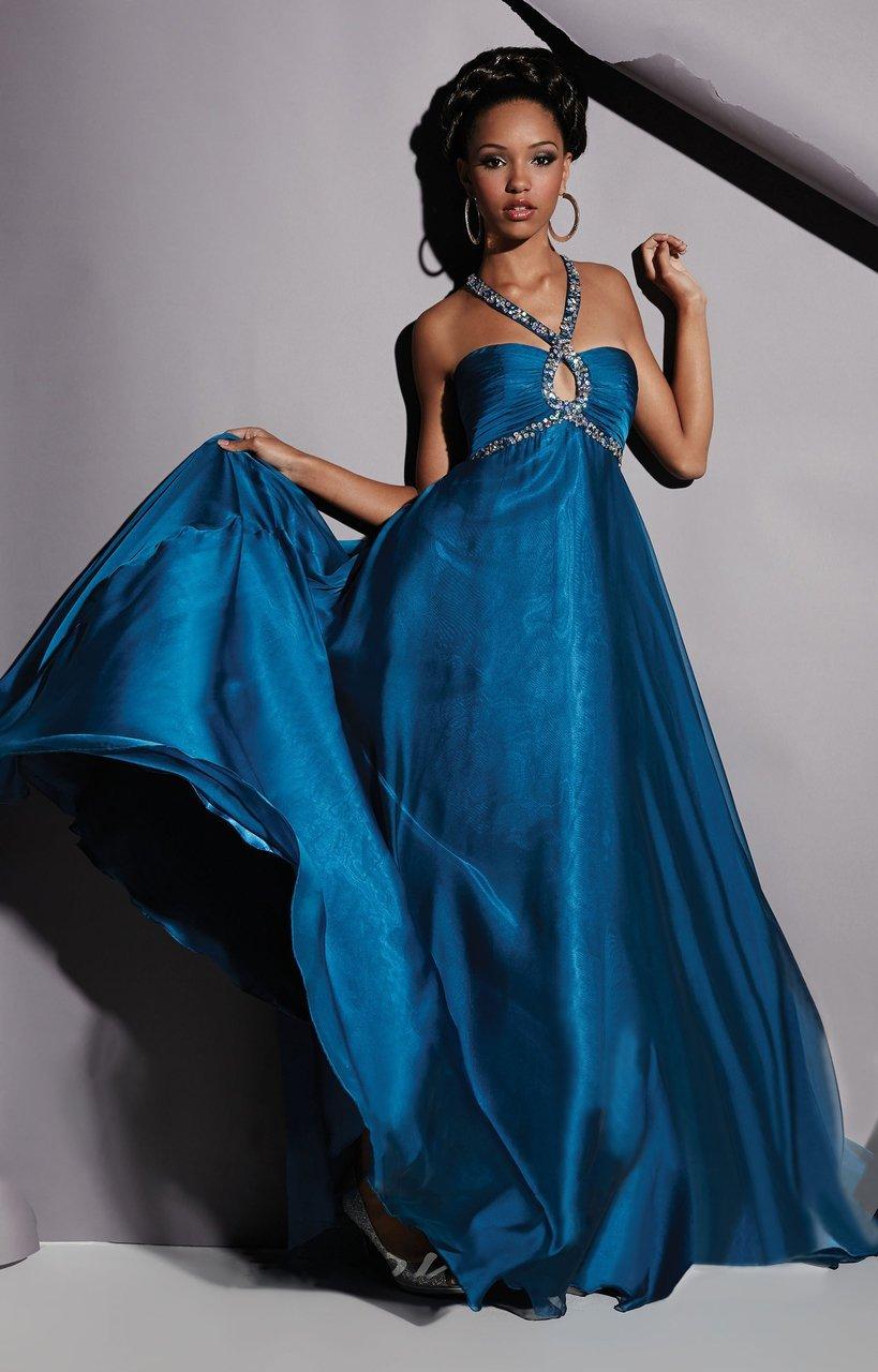 Studio 17 - 12455 Halter Beaded Keyhole Evening Gown