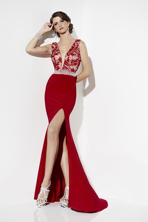 Studio 17 - 12550 Embellished Deep V-neck Trumpet Dress