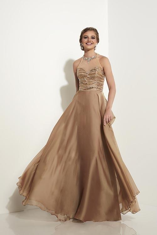 Studio 17 - 12597 Bejeweled High Halter Neck Two Tone Chiffon A-line Dress