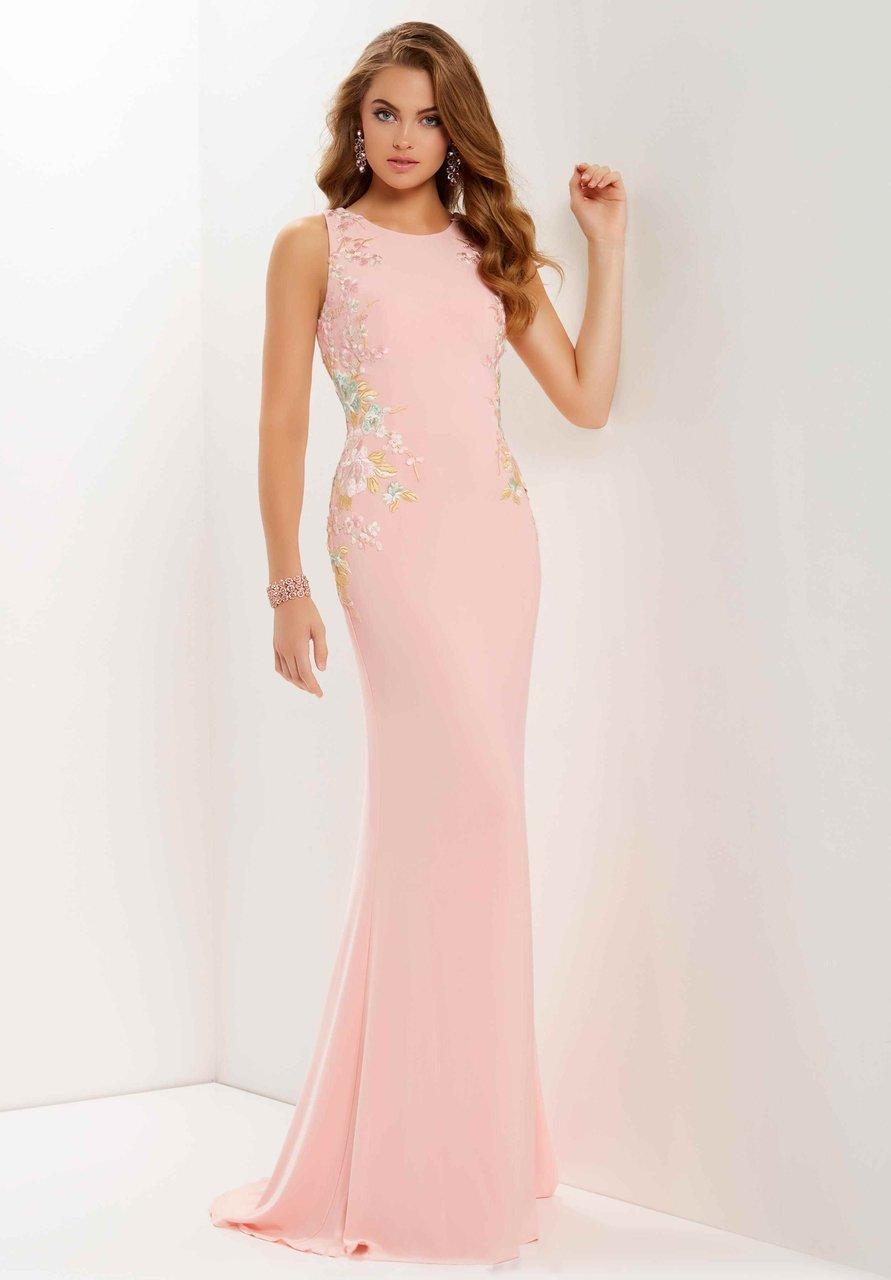 Studio 17 - 12691 Multi-Colored Floral Lace Jersey Sheath Dress