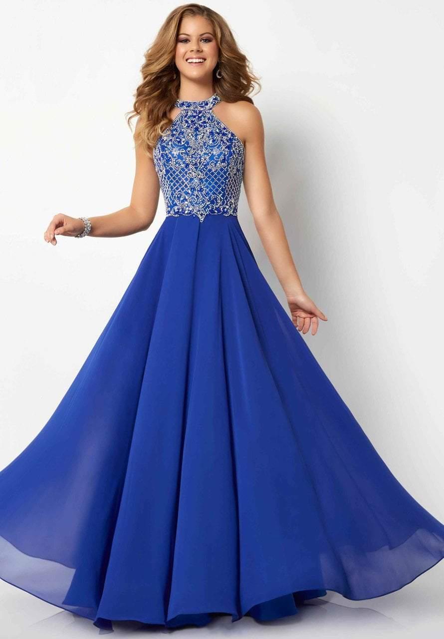 Studio 17 - 12698 Lattice Jeweled High Halter Chiffon Gown
